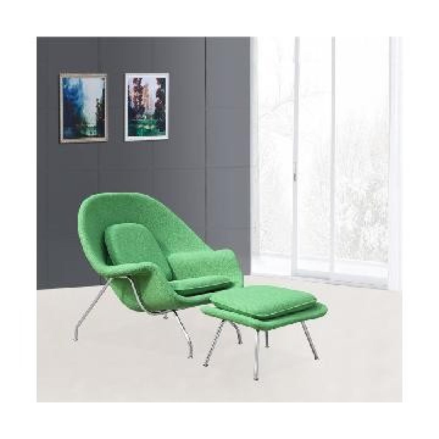 ... Mid Century Style Womb Chair/ Ottoman Set In Green Wool 2
