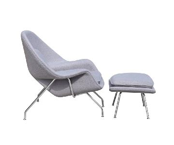 Mid Century Style Accent Chair/Ottoman Set - Light Grey Wool