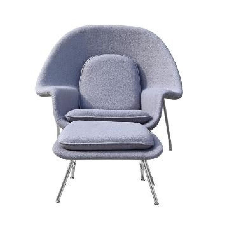 ... Mid Century Style Womb Chair/Ottoman Set   Light Grey Wool 2