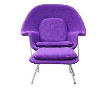 Mid Century Style Accent Chair/ Ottoman Set in Purple Wool