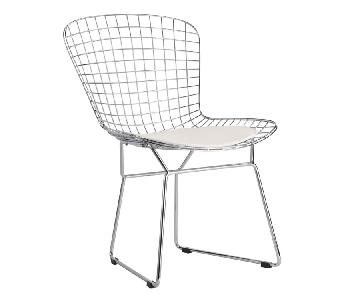 Mid Century Style Wire Dining Chair w/ White Cushion
