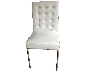 Indigo Furniture White Leather Tufted Dining Chair