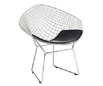 Retro Diamond Steel Wire Chair w/ Black Seat Cushion