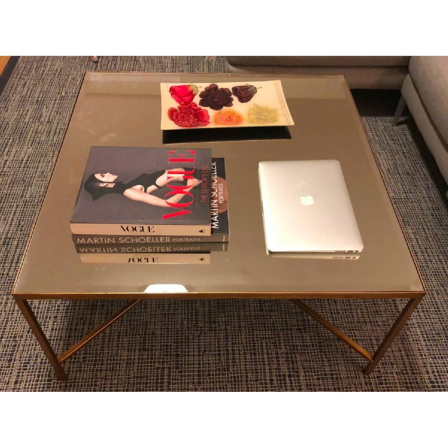 Horchow Gold Leaf Mirrored Coffee Table AptDeco