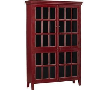 Crate & Barrel Rojo Red Tall Cabinet