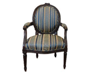 1950s French Louis XVI Carved Walnut Armchair