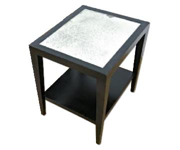 Black Painted Mirror Top Side End Table