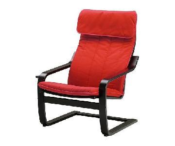 Ikea Poang Armchair in Red/Black