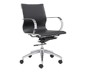 Modern Mid Back Office Chair in Black Leatherette