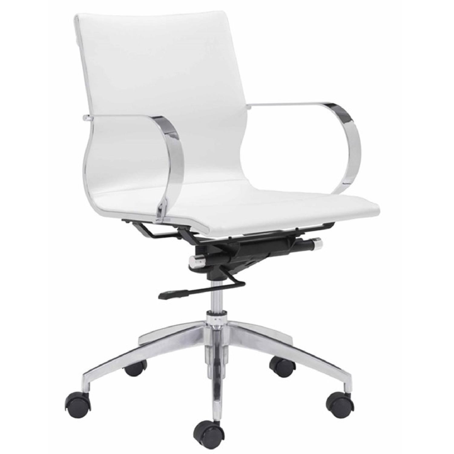 Modern Mid Back Office Chair in White Leatherette - image-0