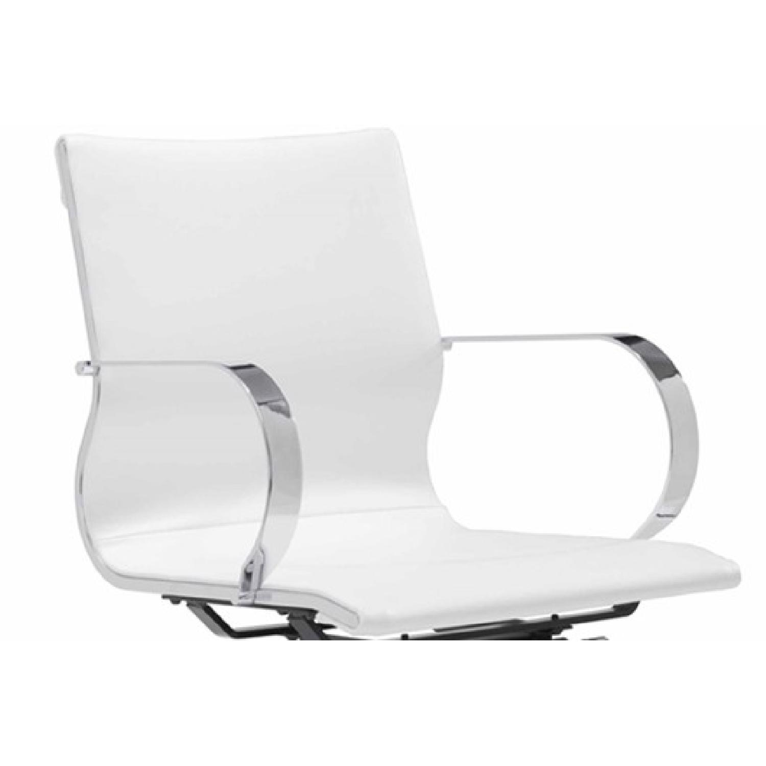 Modern Mid Back Office Chair in White Leatherette - image-1