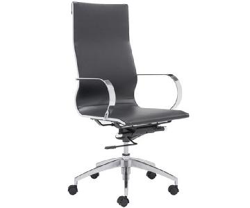 Modern High Back Office Chair in Black Leatherette