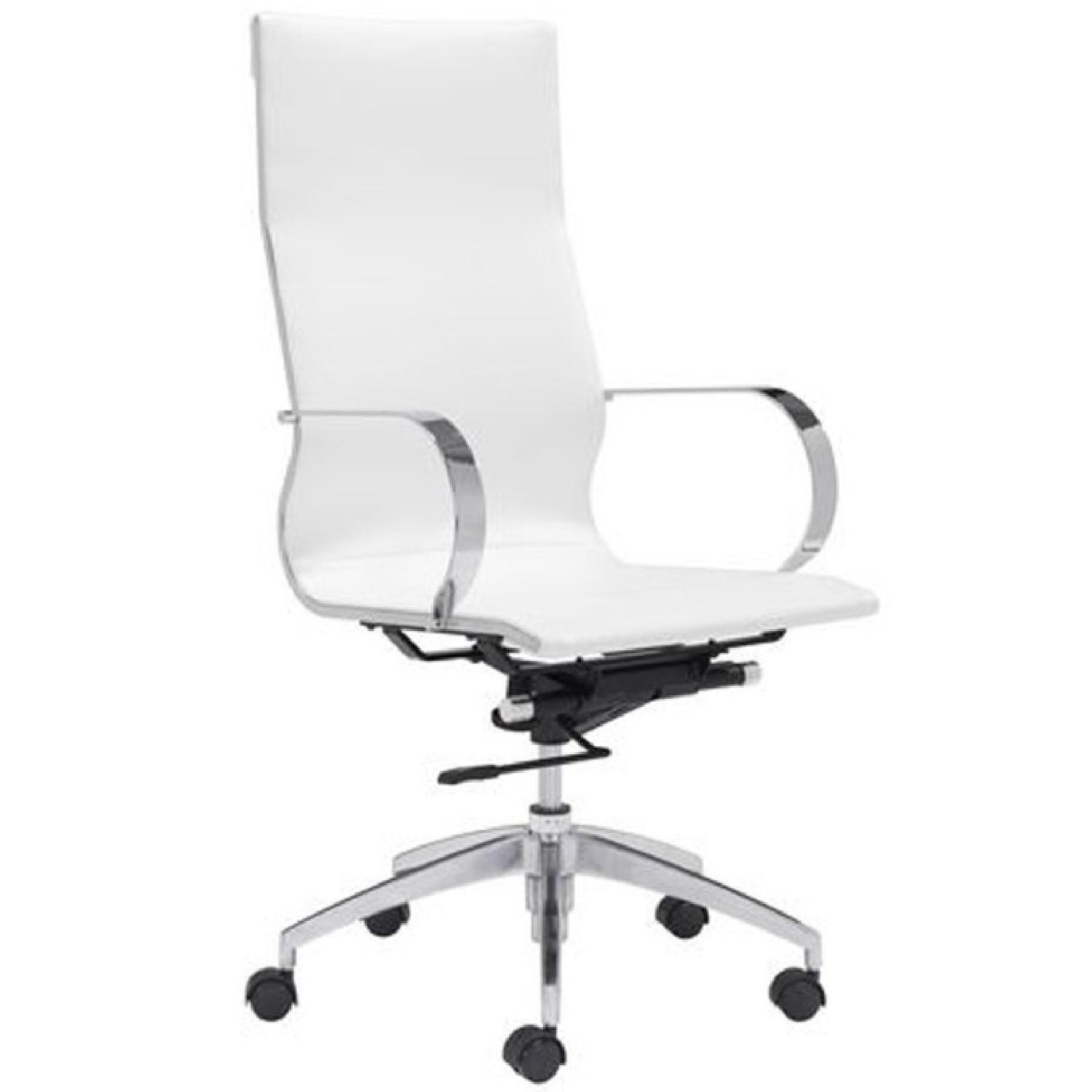Modern High Back Office Chair in White Leatherette - image-0