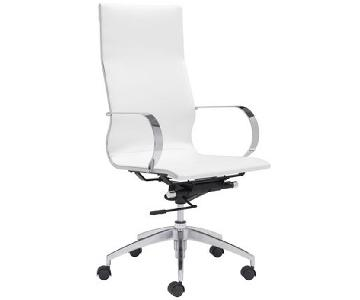 Modern High Back Office Chair in White Leatherette