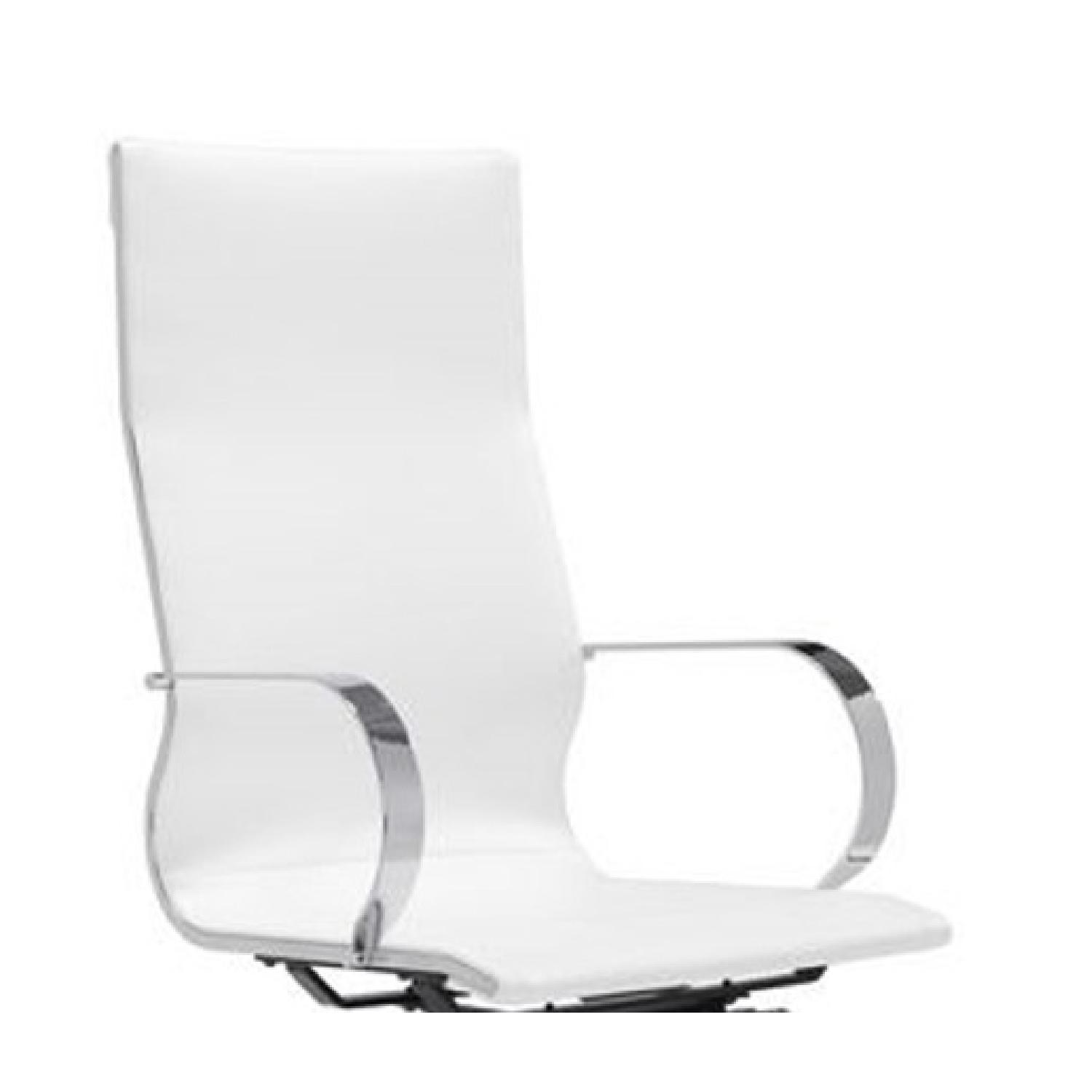 Modern High Back Office Chair in White Leatherette - image-1
