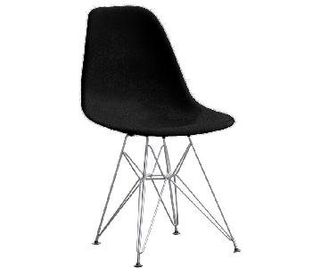 Retro Style Dining Chair w/ Black ABS Shell & Steel Wire Leg