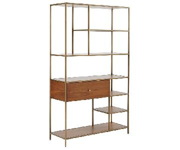 West Elm Nook Walnut/Antiqued-Brass Wide Shelving Unit