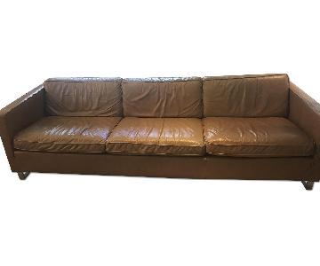 Ethan Allen Contemporary Caramel Leather Sofa