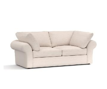 Pottery Barn Air Roll Arm Upholstered White Sofa