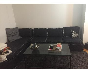 Black Sleeper Sectional Sofa w/ Herringbone Chord Trim
