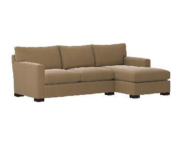 Crate & Barrel Tan Twin Sleeper Sectional Sofa