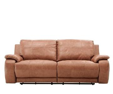 Raymour & Flanigan Leather Power Reclining Sofa