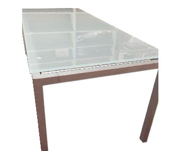 Chelsea Home Furniture Glass Top Metal Base Dining Table
