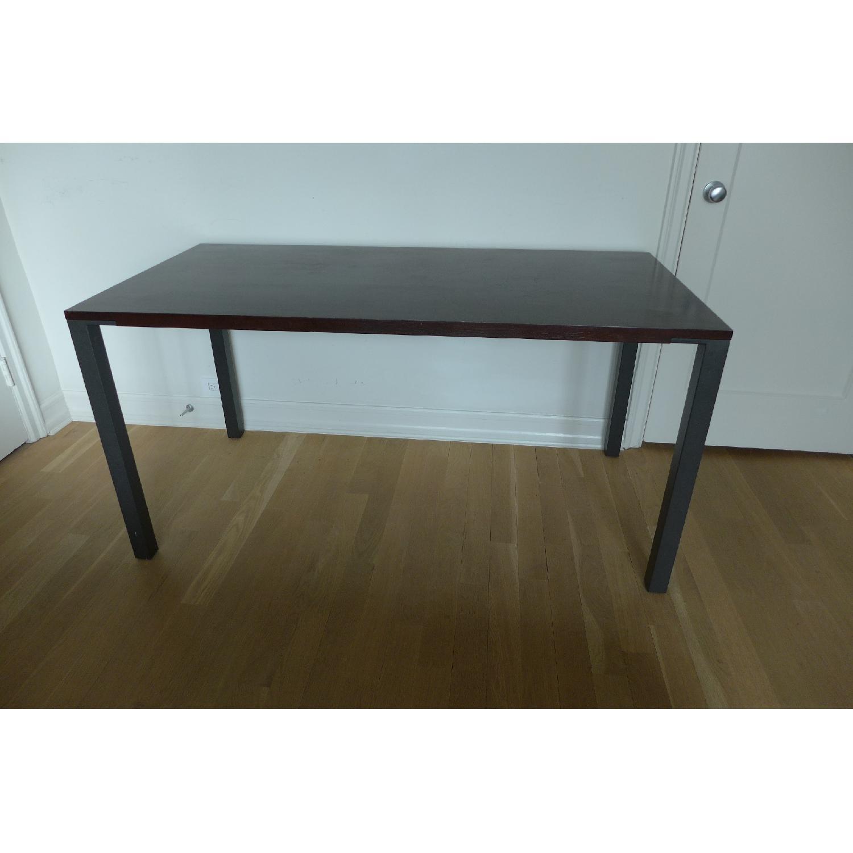Crate Barrel Wood Top Metal Leg Dining Table Desk 0