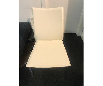 Modern White Leather Dining Chair