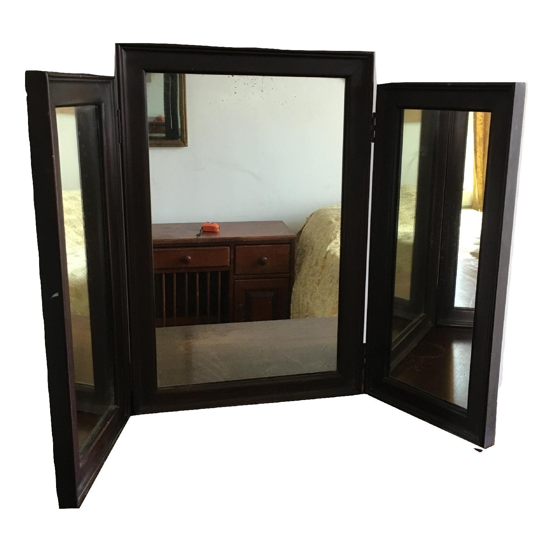 Vintage Wood Tri Fold Dresser/Vanity Mirror-0