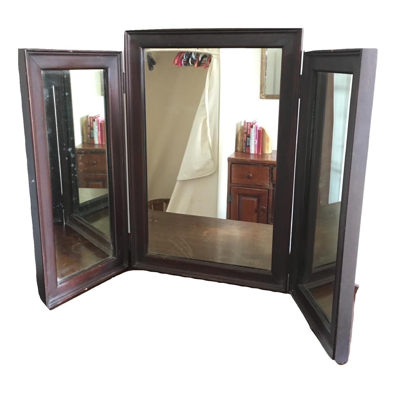 Vintage Wood Tri Fold Dresser/Vanity Mirror-1