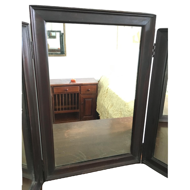 Vintage Wood Tri Fold Dresser/Vanity Mirror-2