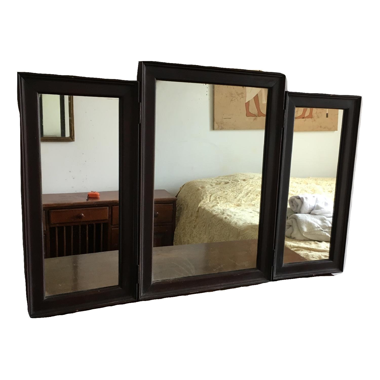 Vintage Wood Tri Fold Dresser/Vanity Mirror-3