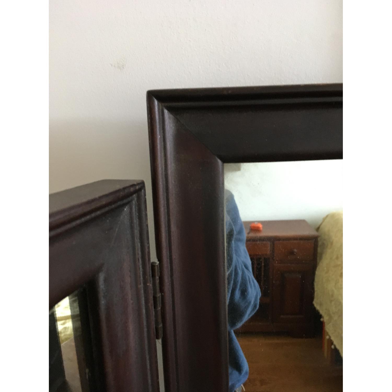 Vintage Wood Tri Fold Dresser/Vanity Mirror-7
