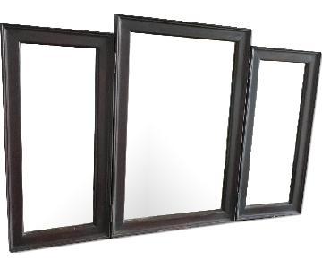 Vintage Wood Tri Fold Dresser/Vanity Mirror