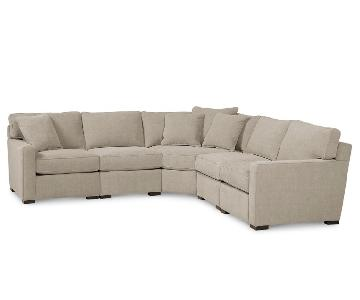 Macy's Radley Chrome Beige 5-Piece Sectional Sofa