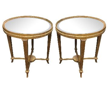 Round Mirrored Top Tables - Pair