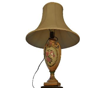 Vintage Table Lamp w/ Rose Pattern