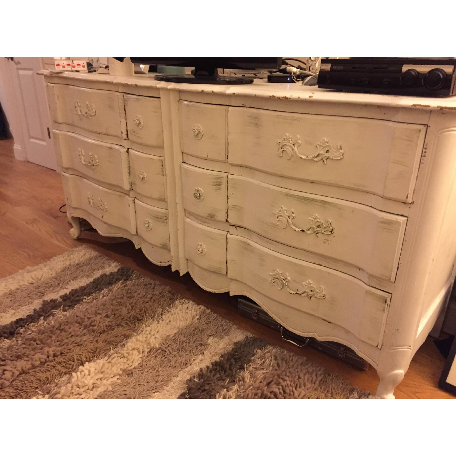 Shabby Chic Antique/Vintage French Provincial White Dresser - image-5