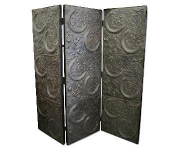 Vintage Tri-Fold Antique Tin Ceiling Tiles Screen