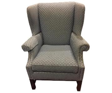 Hallagan Sky Blue Patterned Wingback Chair
