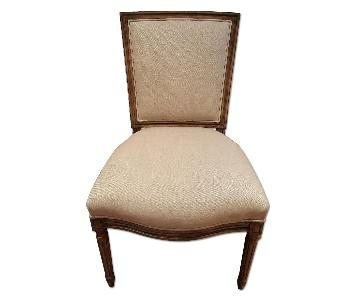 Light Beige Accent Chair w/ Wooden Frame