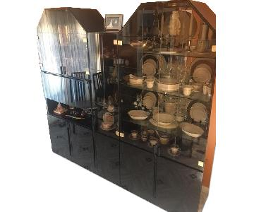 Black Lacquer China Cabinet/Wall Unit