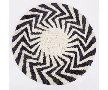 West Elm Wool Zigzag Circle Shag Rug