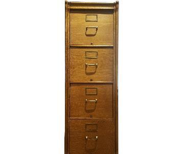 Antique Oak 4-Drawer File Cabinet