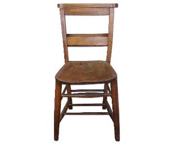 19th Century Primitive Chestnut Pine Church Chapel Chair