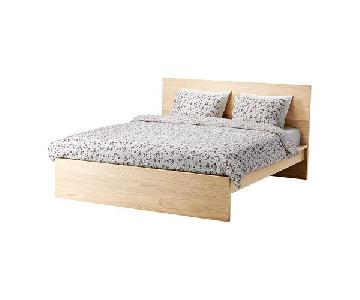 Ikea Malm Birch High Bed Frame w/ Luroy Bed Base
