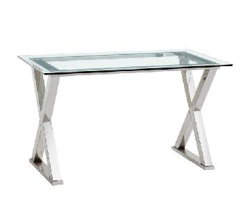 Pottery Barn Ava Metal Desk w/ Glass Top