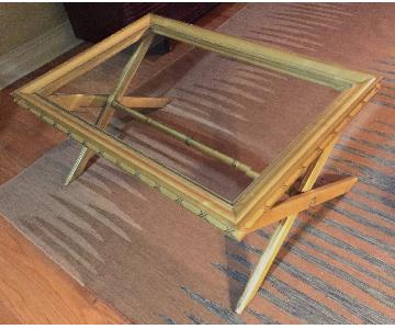 EJ Victor Solid Wood Coffee Table w/ Glass Top
