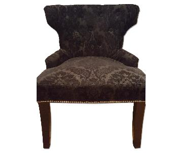 Black Accent Chair w/ Brocade Print Fabric & Studs
